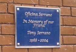 Tony Serrano Memorial Plaque